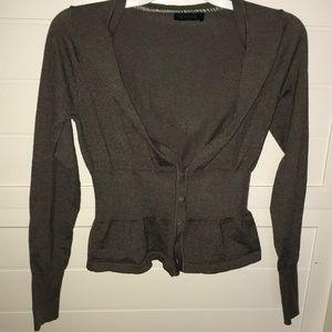 gray cardigan, only worn twice